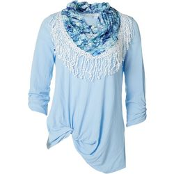Notations Womens Textured Front Lacey Twist Scarf Top