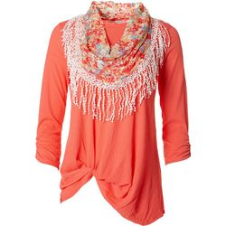 Notations Womens Textured Front Wildflower Twist Scarf Top