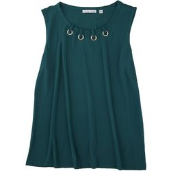 Notations Womens Solid Color Hole Neck Detail Sleeveless Top
