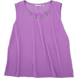 Womens Solid Color Hole Neck Detail Sleeveless Top