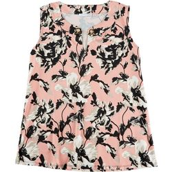 Notations Womens Floral Print, Neck Detail, Sleeveless Top