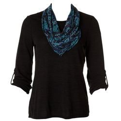 Notations Womens Paisley Scarf 3/4 Sleeve Top