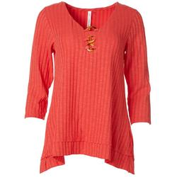 Womens 3-Ring Jacquard Ribbed Knit Sweater