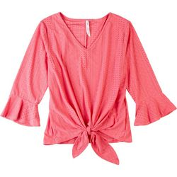 NY Collection Womens FronT Tie Textured Top