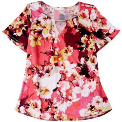 Notations Womens Floral Chain Neck Detail Top