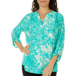 Petite Textured Paisley Print Split Neck Top