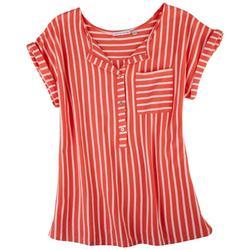 Womens Split Neck Soft Stripes Top