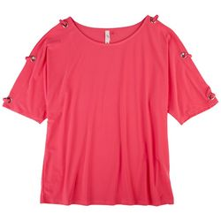 Notations Womens Detailed Sleeves Solid Top