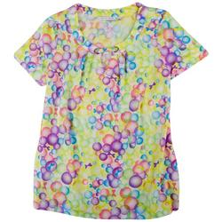 Womens Metal Rings Rounded Neck Printed Top