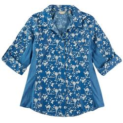 Womens Knit To Fit Denim Floral Button Down Top