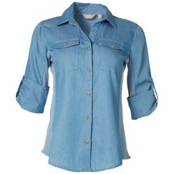 Coral Bay Womens Knit To Fit Denim Button Down Top