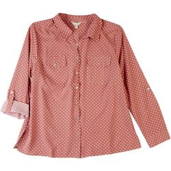 Coral Bay Womens Polka Dot Print Button Down