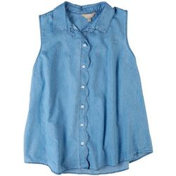 Coral Bay Womens Denim Sleevless Tank With Collared Neck