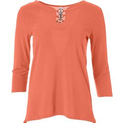 NY Collection Womens 3-Ring Mid Sleeve Blouse