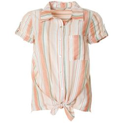 Coral Bay Womens Striped Linen Button Down Tie