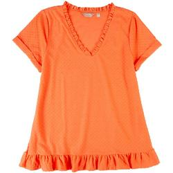 Womens Dotted Textured Frill Short Sleeve