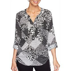 Ruby Road Favorites Womens Mixed Print Ruched Side Tie Top