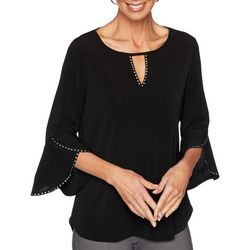 Ruby Road Favorites Womens Embellished Crepe Knit Top