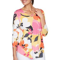 Womens Bright Striped 3/4 Sleeve Top