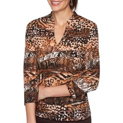 Ruby Road Womens Animal Print V-Neck Top