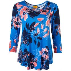 Ruby Road Womens Floral Print Crisscross Top