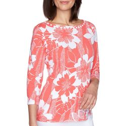 Ruby Road Favorites Womens Flower Embellished Boat Neck Top
