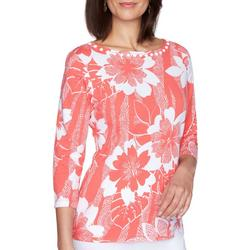 Favorites Womens Flower Embellished Boat Neck Top