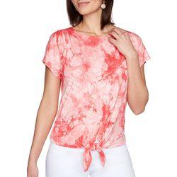 Ruby Rd Womens Tie-Dye Front Tie Top