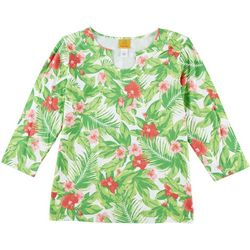 Ruby Road Favorites Womens Hibiscus Horseshoe Neck Top