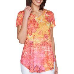 Ruby Rd Womens Crisscross V-Neck Short Sleeve Top