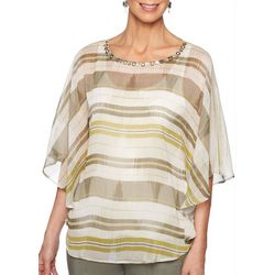 Ruby Road Favorites Womens Jewel Neck Stripe Poncho