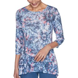 Ruby Rd Womens Embellished Round Neck Tie-Dye Top