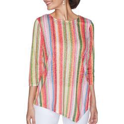 Womens V-Hemline Striped 3/4 Sleeve Top