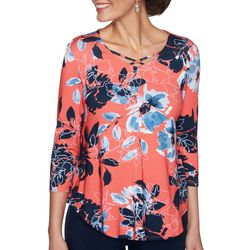 Ruby Road Womens Crisscross Round Neck 3/4 Sleeve Top