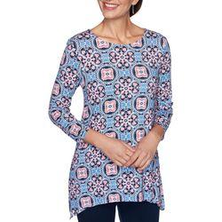 Ruby Road Favorites Womens Mandalas 3/4 Sleeve Top