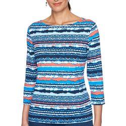OneWorld Womens Embellished Boat Neck 3/4 Sleeve Top