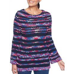 Ruby Road Favorites Womens Pom Pom Embellished Sweater