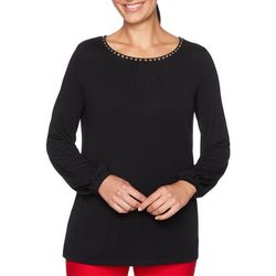 Ruby Road Favorites Womens Solid Embellished Round Neck Top