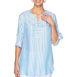 Ruby Road Favorites Womens Bright Striped Lace Front Top