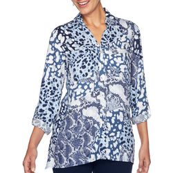 Ruby Road Favorites Womens Mixed Animal Button Down Top