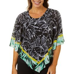 Ruby Road Favorites Womens Graphic Print Poncho Top