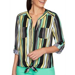 Ruby Road Favorites Womens Striped Button Down Tie Front Top
