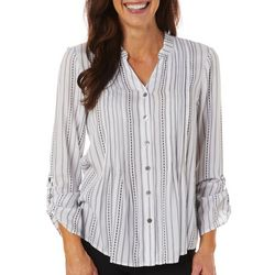 Ruby Road Favorites Womens Striped Button Down Top