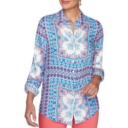 Ruby Road Favorites Womens Tile Print Button Down Top