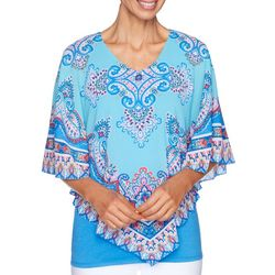 Ruby Road Favorites Womens Tile Print Poncho Top