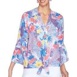 Ruby Road Favorites Womens Tropical Hibiscus Tie Front Top