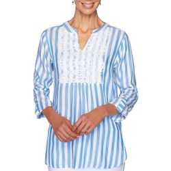 Ruby Road Favorites Womens Striped Lace Panel Tunic Top