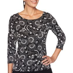 Ruby Road Favorites Womens Scroll Print Round Neck Top