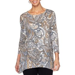 Ruby Road Favorites Womens Brocade Paisley Sharkbite Hem Top