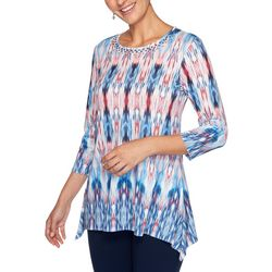 Ruby Road Favorites Womens Ikat Print Sharkbite Hem Top